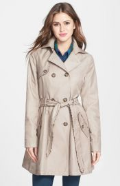 Betsey Johnson Leopard Piped Trench at Nordstrom