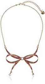 Betsey Johnson Marie Antoinette Pave Bow Necklace at Amazon
