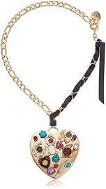 Betsey Johnson Mixed Multi-Charm Heart Pendant Necklace at Amazon
