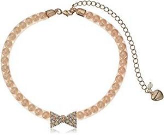 Betsey Johnson Pave Bow  amp  Pearl Pink Mesh Choker Necklace  12 5 quot    5 quot  Extender at Amazon