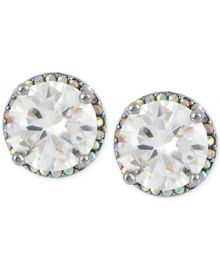 Betsey Johnson Silver-Tone Crystal Round Stud Earrings at Macys