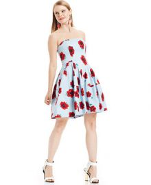 Betsey Johnson Strapless Floral-Print Dress at Macys