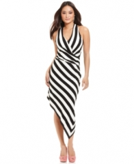 Betsey Johnson Striped Asymmetrical hem dress at Macys