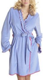Betsey Johnson Womenand39s Microfleece Robe Blue Dahlia Large  Amazoncom at Amazon