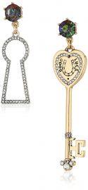 Betsey Johnson Womens Lock  amp  Key Non-Matching Drop Earrings at Amazon
