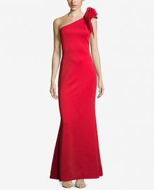 Betsy   Adam One-Shoulder Ruffled Scuba Gown Women -  Dresses - Macy s at Macys