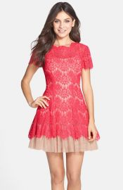 Betsy and Adam Short Sleeve Lace Fit and Flare Dress at Nordstrom