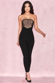 Beulla Black  Beige Lace Panel Strapless Jumpsuit by House of CB at House of CB