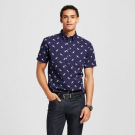 Bird Print Short Sleeve Poplin Button Down Popover Shirt at Target