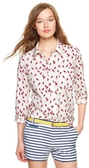 Bird printed fitted boyfriend shirt at Gap