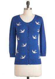 Birdlandia Cardigan in Blue at ModCloth