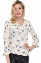 Birds pattern shirt at Romwe