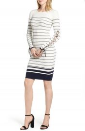 Bishop   Young Marissa Stripe Lace-Up Sleeve Sweater Dress at Nordstrom