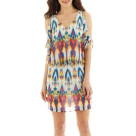 Bisou Bisou Open Shoulder Blouson Dress at JC Penney