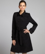 Black Calvin Klein trench coat at Bluefly