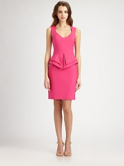 Black Halo - Valentina Peplum Scuba Dress at Saks Fifth Avenue