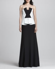 Black Halo Eve Drea Leather-Bodice Gown at Neiman Marcus