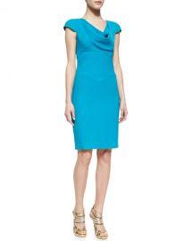 Black Halo Gretchen Crepe Cowl-Neck Dress at Neiman Marcus