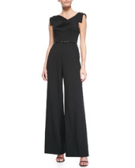 Black Halo Jackie Asymmetric Wide-Leg Jumpsuit at Neiman Marcus