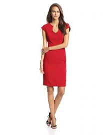 Black Halo Womenand39s Cap-Sleeve Stefan Sheath Dress at Amazon