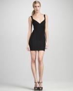 Black Herve Leger mini dress at Bergdorf Goodman