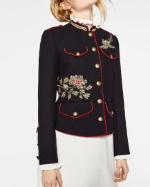 Black Jacket with Embroidery by Zara at Zara