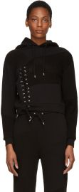 Black Lace Patched Hoodie by Alexander McQueen at SSense