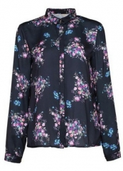 Black Lapel Vintage Floral Blouse at She Inside