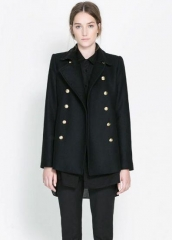 Black Notch Lapel Jacket at She Inside