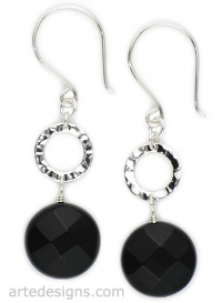 Black Onyx Hammered Circle Earrings at Arte Designs