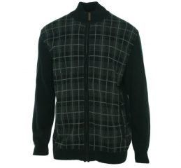 Black Plaid Zip front Sweater by Tasso Elba at Amazon