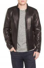 Black Rivet Lambskin Leather Moto Jacket at Nordstrom