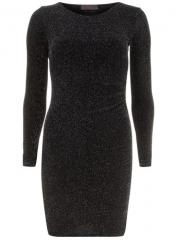 Black Stretch Glitter Dress at Dorothy Perkins