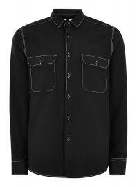 Black Top Stitch Shirt by Topman at Topman