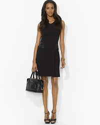 Black V Neck Faux Leather Dress by Ralph Lauren at Bloomingdales