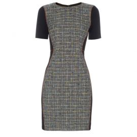 Black and grey checked tweed dress at Paul Smith