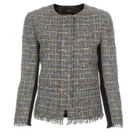 Black and grey checked tweed jacket at Paul Smith