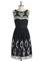 Black and white embroidered dress at Modcloth