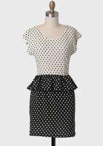 Black and white peplum dress at Ruche at Ruche