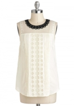 Black and white scalloped top at Modcloth