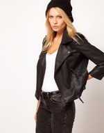 Black biker jacket at Asos