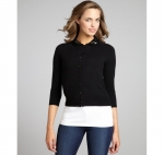 Black cardigan with sequin peter pan collar at Bluefly