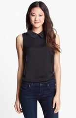 Black collared shell top by Halogen at Nordstrom