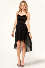 Black dipped hem dress from Lulus at Lulus