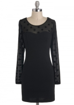 Black dress with sheer polka dots at Modcloth
