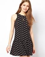 Black drop waist dress at Asos