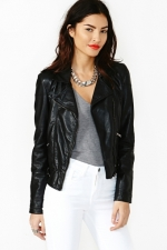 Black faux leather jacket like Juliettes at Nasty Gal