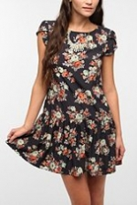 Black floral drop waist dress at Urban Outfitters