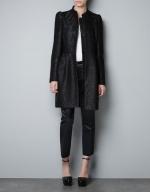 Black jacquard coat by Zara at Zara