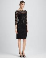 Black lace dress by Aidon Mattox at Neiman Marcus